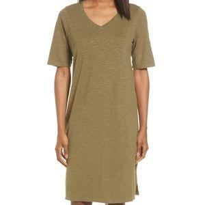 EUC Eileen Fisher Hemp V-Neck Tee Shirt Dress L